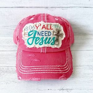 Distressed Pink Y'all Need Jesus Ball Cap Hap